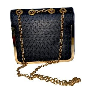 Textured Black & Gold Large Flap Chain Strap Bag